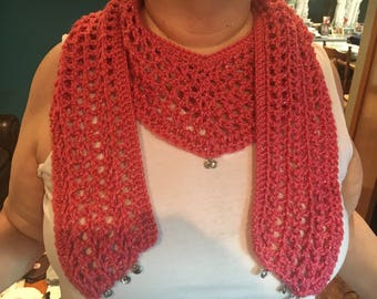 Crocheted V Scarf, Crocheted Spring Scarf, Coral Crocheted Scarf