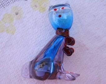 Vintage Blue Blown Glass Kitty Cat Figurine