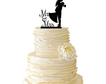 Mr. And Mrs. With Groom Lifting Bride - Acrylic or Baltic Birch Wedding/Special Event Cake Topper - 034