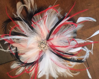 Bridal Wedding Fascinator Feather Hair Clip Rhinestone ostrich.. Red, white, & black