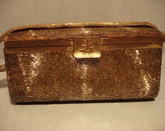 Vintage 1940s Gold Box Embellished Handbag Purse