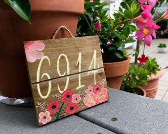 Hand Painted Custom House Number / Door Number Wooden Sign