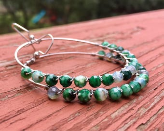 Wire Wrapped Green Faceted Agate Earrings