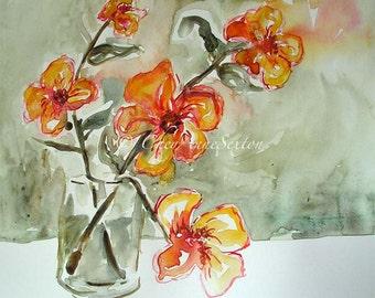 Sweet Orange Flowers Wall Art ORIGINAL Watercolor - Vase of Tangerine Tango Flowers - painting on recycled Canson Bristol