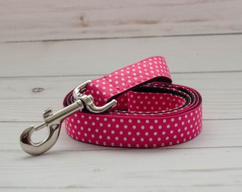 5 foot long Dog Leash in Hot Pink Polka Dots to match Flower collar