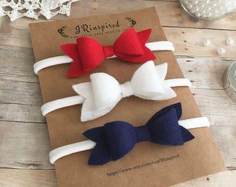Baby headband, baby felt headband, wool blend felt, alligator clip, bow, red, white, blue, Memorial Day, 4th of July, Labor Day, Patriotic