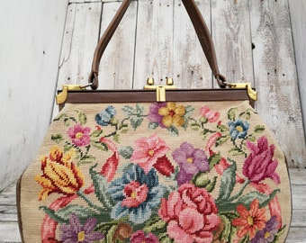 Tapestry Bag 1920-1930. Germany with leather combines feminine handmade