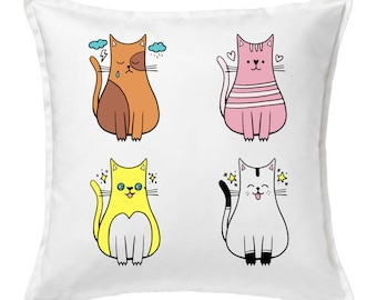 Pillow, custom illustration, cats, cotton