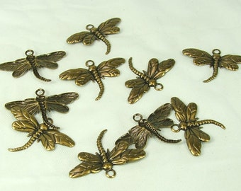 Dragonfly Charm 10 Pieces Antiqued Gold Plated Brass 26x15mm Insect pendant craft supply