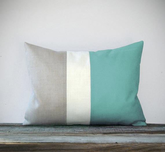 Mint Color Block Decorative Pillow with Cream