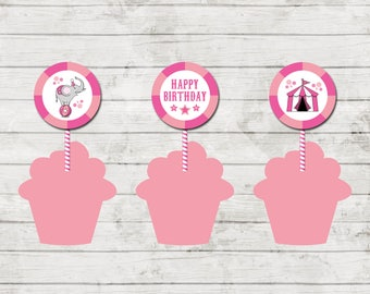 Cupcake Toppers - Circus Carnival Theme Birthday Party - Pink - Party Circles - INSTANT DOWNLOAD - Printable