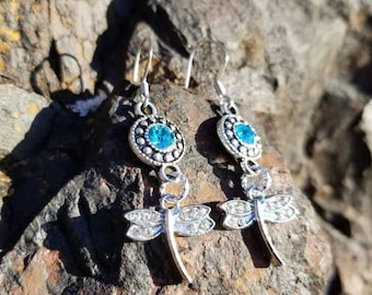 Sparkly crystal dragonfly earrings, Dangle earrings, nature lover gift