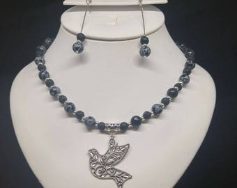 Lava stone and snowflake Obsidian necklace