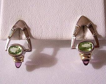 Green Purple Triangle Pierced Post Stud Earrings Silver Gold Tone Vintage Gemstone Dangles