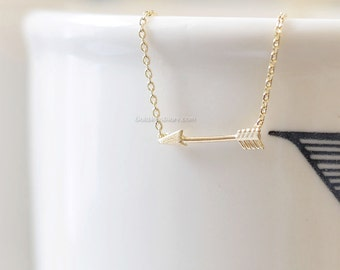 Tiny Arrow Necklace in Gold ,Affordable Charm Necklace, wedding gifts, bridesmaid gifts, Gold Tiny arrow Charm, Necklaces for Women