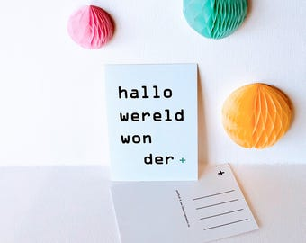 Card ' Hello World Wonder '