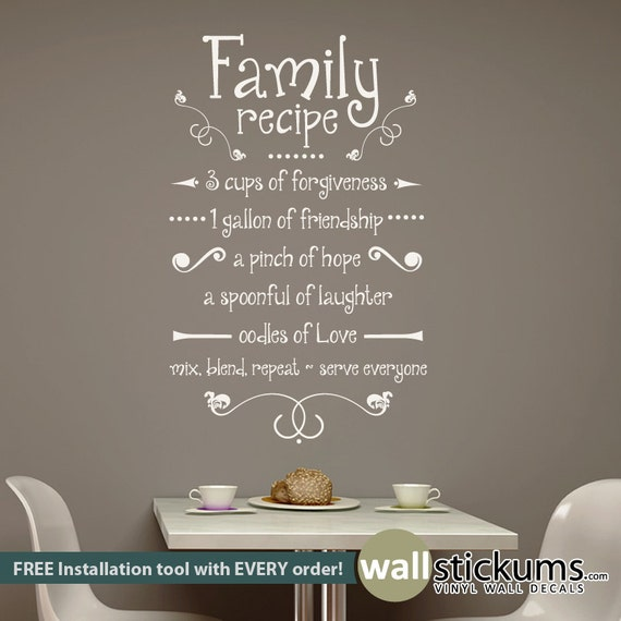 Family Recipe Wall Decal Vinyl Wall Art Decal Quote Kitchen