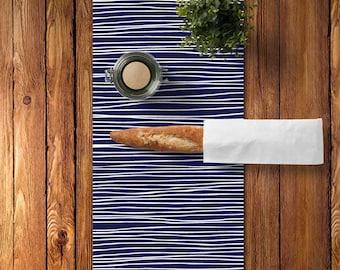 45 colors Modern Table Runner, Cotton Table Runner, Indigo Blue Table Runner, Lines Table Runner, Scandinavian Kitchen Decor, Graphic Runner