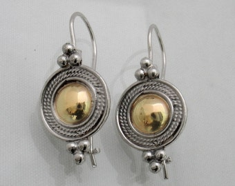 Desirable - silver Yemenite filigree and gold dome earrings
