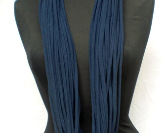 Infinity Scarf, Cotton Jersey Strand Style from Up-Cycled T-shirts - solid color, double thick