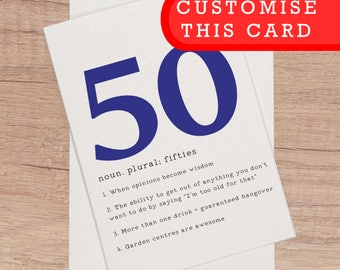 Funny 50th card etsy 50th birthday card funny birthday cards customised 50th funny bday card 50 fiftieth birthday personalised card bookmarktalkfo Gallery