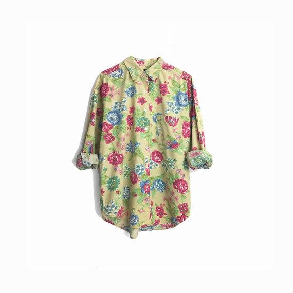 Vintage 90s Floral Boy Shirt in Beige Green & Pink  / Cotton Boyfriend Shirt / Granny Florals / 90s GAP Shirt  - women's medium