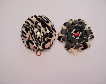 Large animal print flower clips