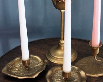 Pair of Lily pad Brass Candleholders - set of 2