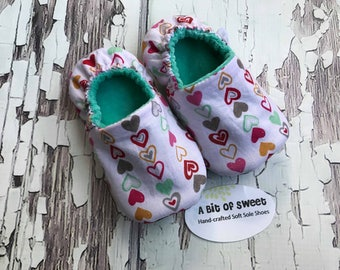 Ready to Ship Multi Color Hearts Soft Sole Shoes