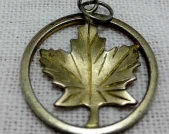 MAPLE LEAF-  Sterling Silver Charm -Canadian- Canada