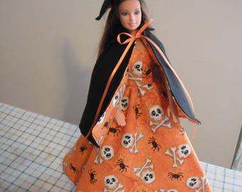 Halloween Barbie Witch Costume / Barbie Doll Clothes / Halloween / Orange / Doll Clothes / Witch Hat / Witch Costume / Skulls