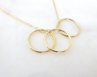 Eternity Circle Necklace, Karma Necklace, Gold fill open circle pendant, Gift for Her, Mom Necklace, Dainty Sterling Silver ring necklace