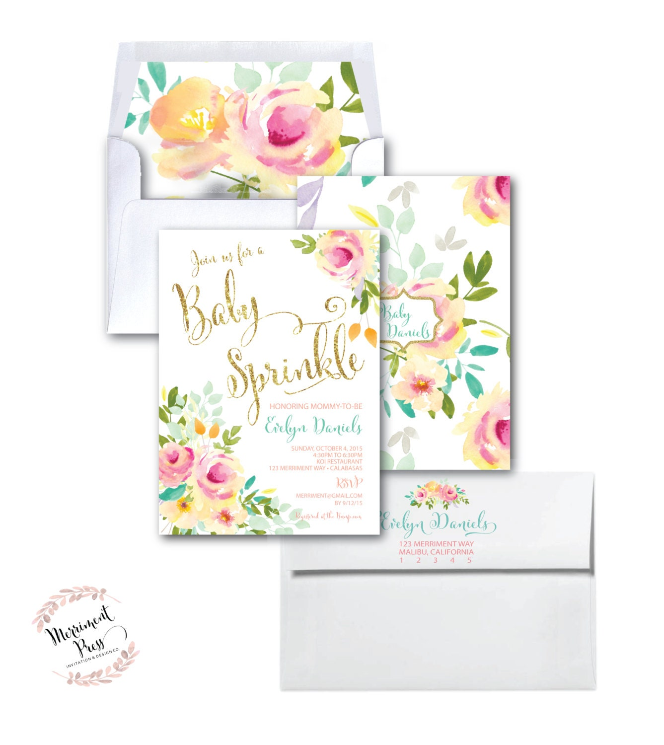 Baby Sprinkle Invitation //Roses /Peonies //Peony//Baby Shower ...