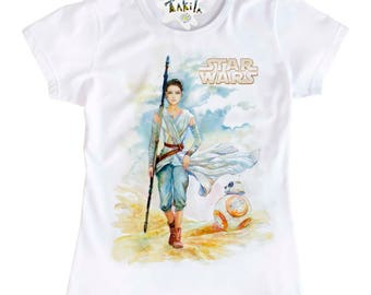 REY and BB-8 from  Star Wars ( The Last Jedy , The Force Awakens ) Women's T-Shirt by Takila