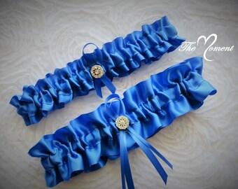 Royal Blue Garter Set, Wedding Garter, Bridal Garter, Keepsake Garter, Toss Away Garter, Prom Garter, Costume Garter, Garter