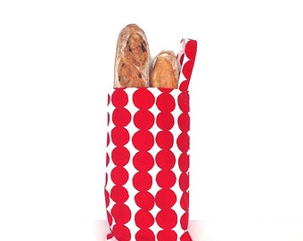 Bread Bag. French Bread Bag. Long Breadstick Bag. Baguette Bag. Reusable Bag. Red and White Bag. Gift for Cook. Gift for Her. Foodie Gift.