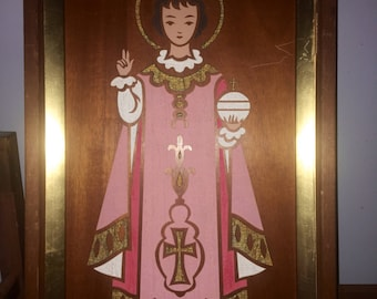 Vintage Midcentury Carved Wall Hanging by Franz Grosz of the Infant of Prague (Signed)