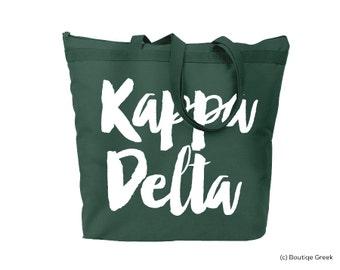 KD Kappa Delta Brush Script Sorority Tote