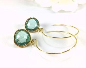 Hoop Earrings Gold Hoop Earrings Aquamarine Crystal Drop Hoop Earrings Gold Aquamarine Dangle Hoop Earrings Loop Earrings Fashion Earrings