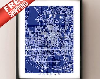 Norman, OK City Map Print