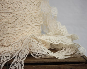 Vintage soft beige lace, ribbon of lace, beige roses pattern lace, Millinery lace, lace ribbon sold by meter, wedding ornament, hat ornament