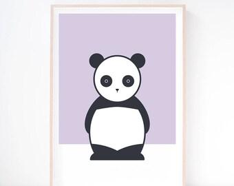 Ping Panda Art Print. Nursery Print. Wall Art. Printed Art. Panda Illustration. Kids Art Print. Scandi Print. Modern Nursery. Baby Wall Art.