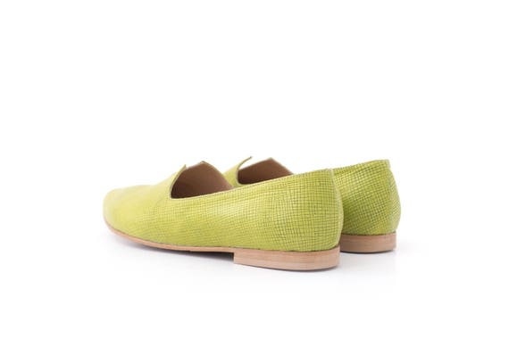 flats Women's leather woman toe handmade loafers ADI pointy shoes green shipping KILAV free pointed flats UZnrXZY