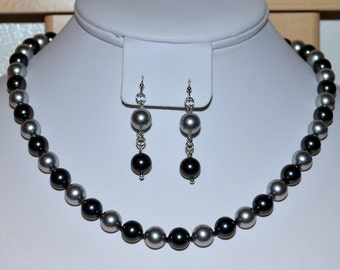 Hand-Knotted 8mm Swarovski Pearl Necklace in Black and Gray on Silk Thread with Matching Earrings - SW8
