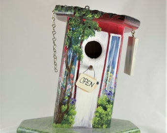 Red and White Birdhouse , Flower Shop , Leaning , Colorful , Handmade , Hand Painted