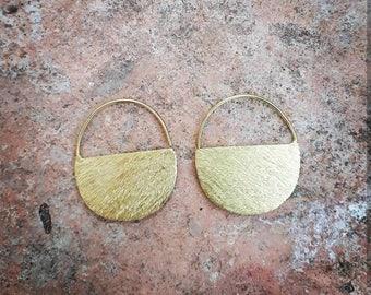 Small moon shape brass earrings, boho earrings, ethnic earrings