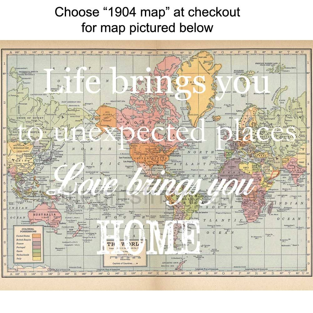 Life brings you map print travel quote map love brings you zoom gumiabroncs Images