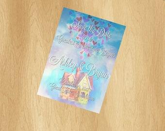 Disney Pixar UP Wedding Watercolor Save The Date Invitation