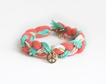 Peace bracelet, braided bracelet with peace charm,  bohemian bracelet, hippie bracelet in coral and mint