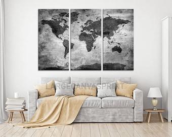 Black and White World Map Push Pin Canvas Wall Art, Travel Map of World, Vintage Map, Push Pin Map, Push Pin World Map, Framed Ready to Hang